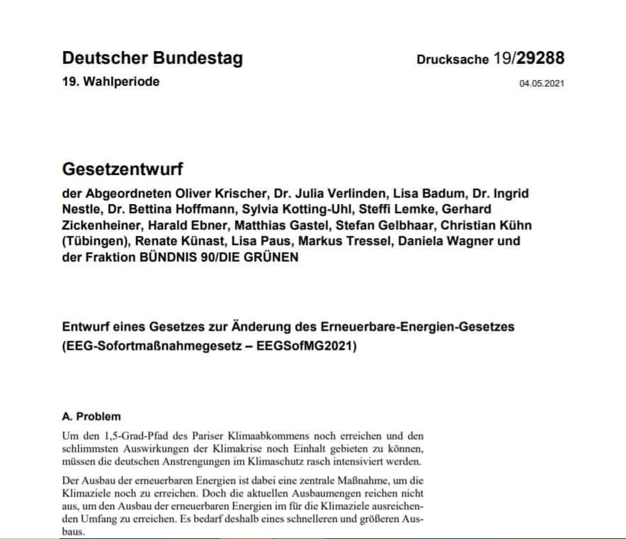 Titelblatt des Gesetzentwurfs